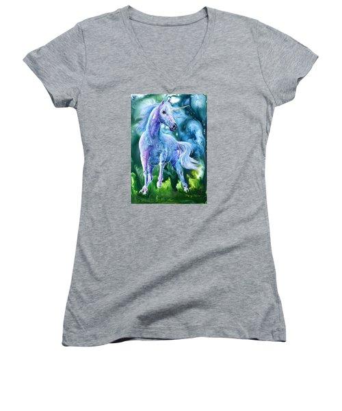 I Dream Of Unicorns Women's V-Neck T-Shirt (Junior Cut) by Sherry Shipley