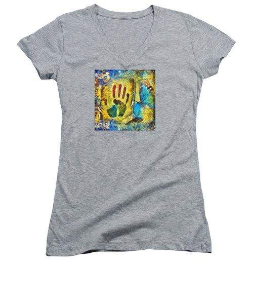I Exist Women's V-Neck T-Shirt (Junior Cut) by Gun Legler