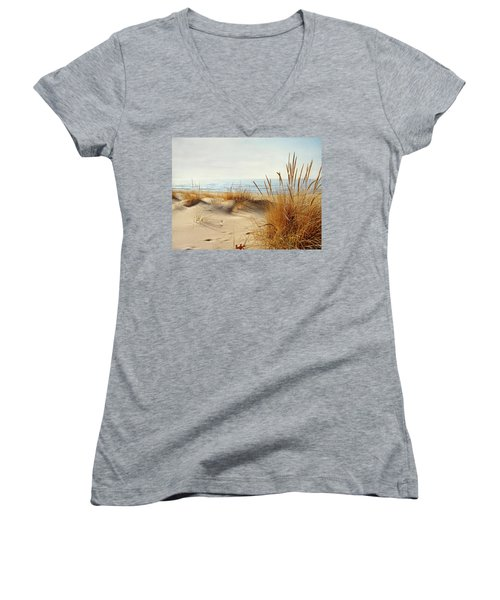 Women's V-Neck T-Shirt (Junior Cut) featuring the photograph I Hear You Coming  by Kathi Mirto