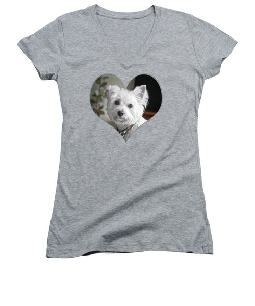 I Heart Puppy On A Transparent Background Women's V-Neck T-Shirt (Junior Cut) by Terri Waters
