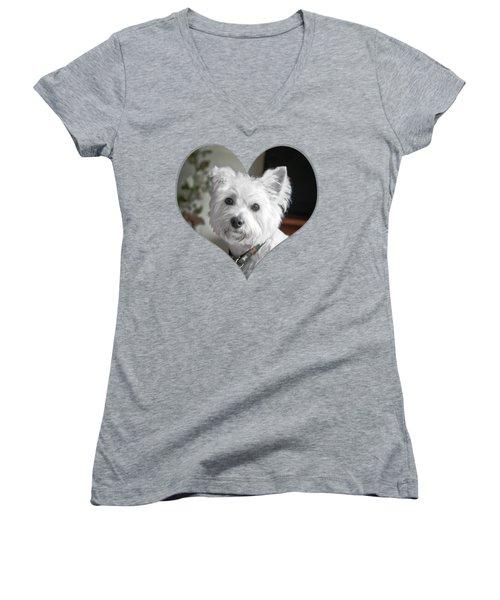 I Heart Puppy On A Transparent Background Women's V-Neck T-Shirt