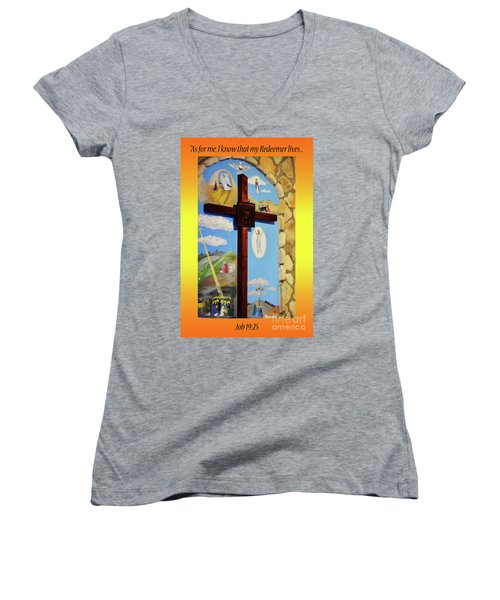Women's V-Neck T-Shirt (Junior Cut) featuring the photograph I Know My Redeemer Lives by Debby Pueschel