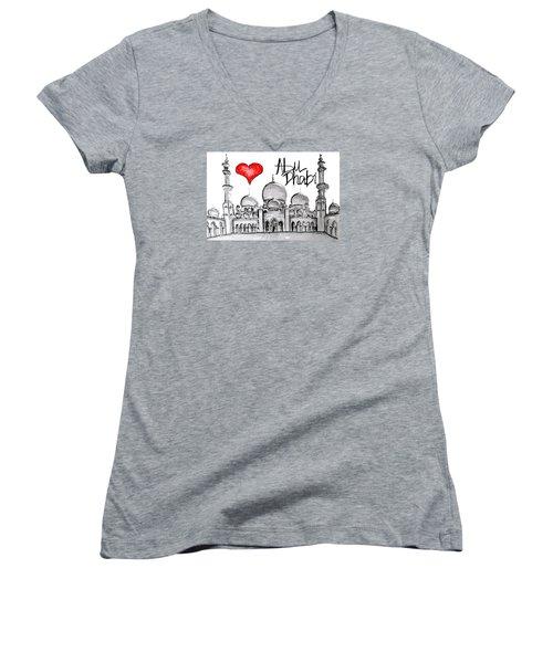 I Love Abu Dhabi Women's V-Neck T-Shirt (Junior Cut) by Sladjana Lazarevic
