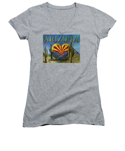 I Love Arizona Landscape Women's V-Neck (Athletic Fit)