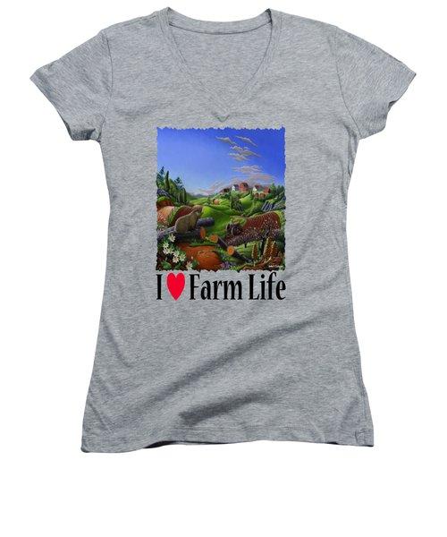 I Love Farm Life - Groundhog - Spring In Appalachia - Rural Farm Landscape Women's V-Neck T-Shirt (Junior Cut) by Walt Curlee