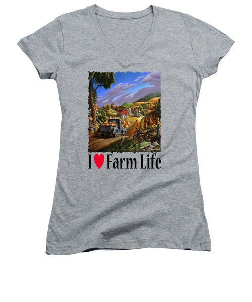 I Love Farm Life - Taking Pumpkins To Market - Appalachian Farm Landscape Women's V-Neck T-Shirt (Junior Cut) by Walt Curlee