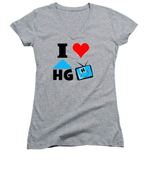 Women's V-Neck T-Shirt (Junior Cut) featuring the drawing I Love Hgtv T-shirt by Kathy Kelly
