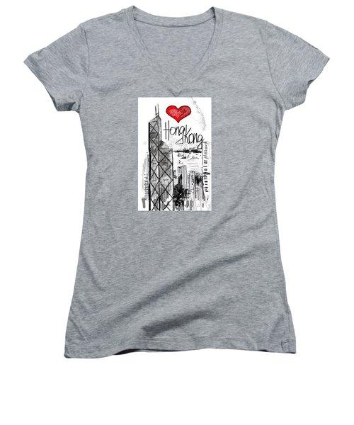 I Love Hong Kong  Women's V-Neck T-Shirt (Junior Cut) by Sladjana Lazarevic