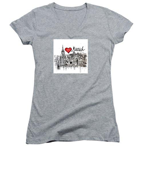 I Love Munich Women's V-Neck T-Shirt (Junior Cut) by Sladjana Lazarevic
