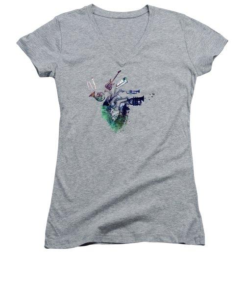 I Love Music - Music My Love Women's V-Neck T-Shirt