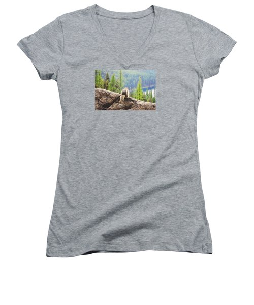 Women's V-Neck T-Shirt (Junior Cut) featuring the photograph I Love My Home by Janie Johnson