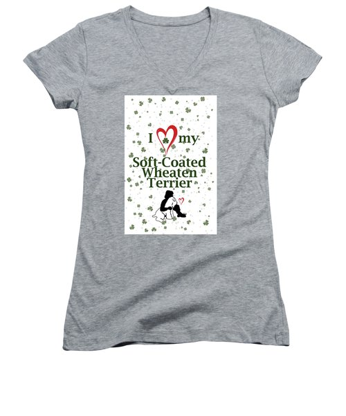 Women's V-Neck T-Shirt (Junior Cut) featuring the digital art I Love My Wheaten Terrier by Rebecca Cozart