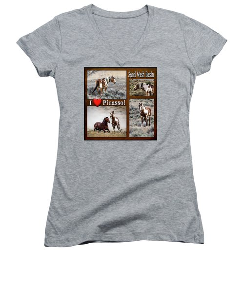 I Love Picasso Collage Women's V-Neck T-Shirt (Junior Cut) by Nadja Rider