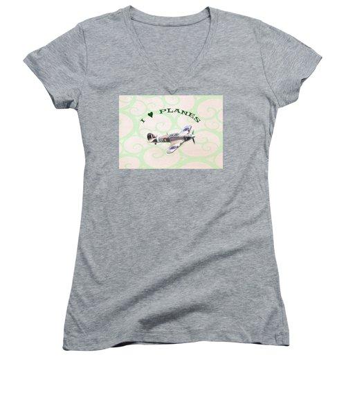 I Love Planes - Hurricane Women's V-Neck