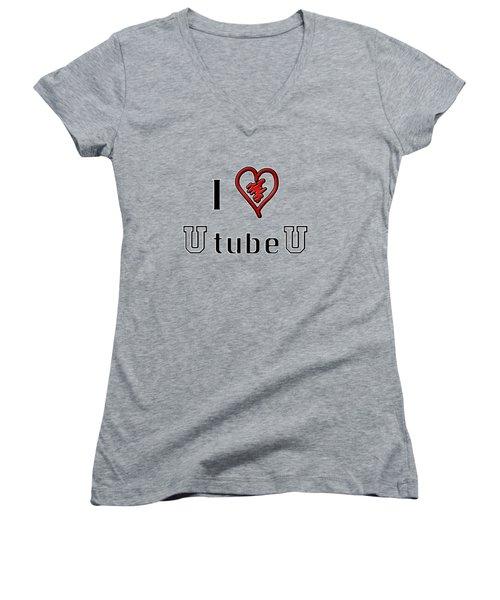I Love U Tube U Women's V-Neck T-Shirt (Junior Cut) by Phyllis Denton