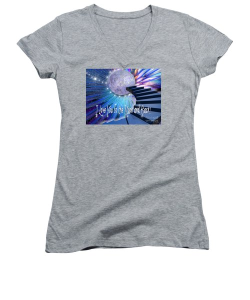 I Love You To The Moon And Back Women's V-Neck (Athletic Fit)