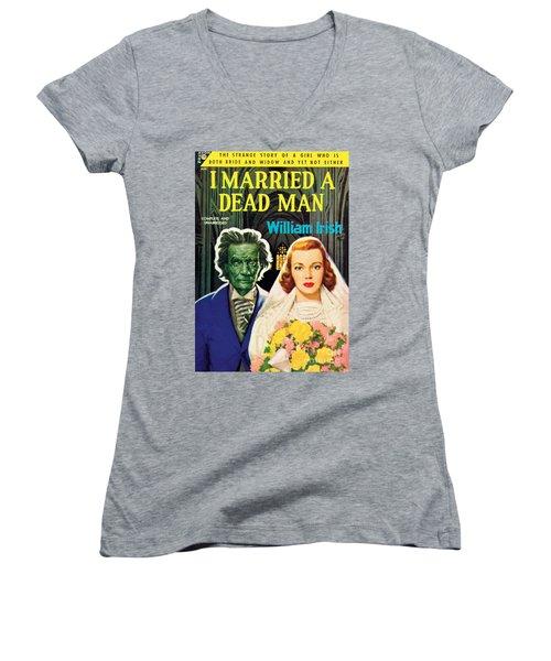 I Married A Dead Man Women's V-Neck T-Shirt (Junior Cut) by Unknown Artist