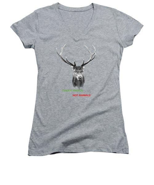 Women's V-Neck T-Shirt (Junior Cut) featuring the photograph I Shoot Photos by Jivko Nakev