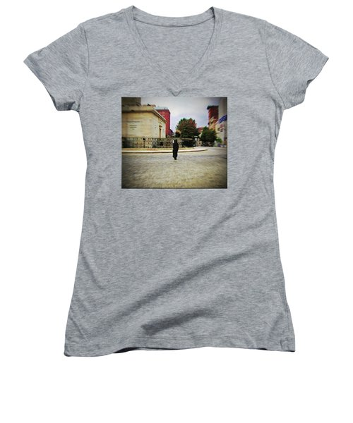 Women's V-Neck T-Shirt (Junior Cut) featuring the photograph I Walk Alone by Brian Wallace