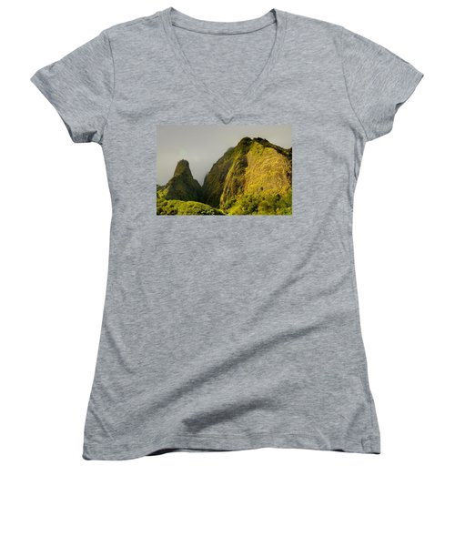 Iao Needle And Mountain Women's V-Neck T-Shirt