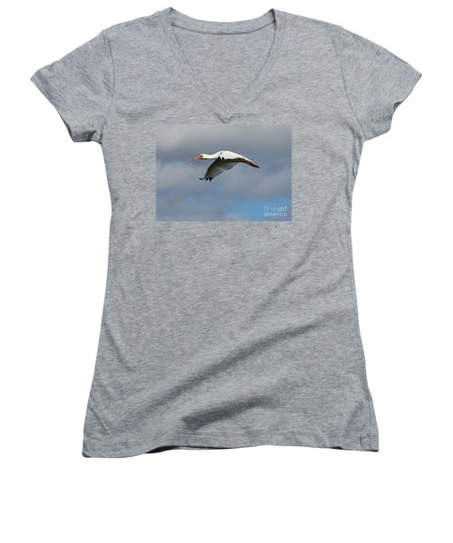Ibis In Flight Women's V-Neck T-Shirt (Junior Cut) by Carol Groenen