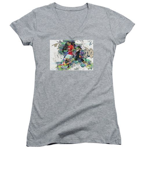 Ibrahimovic Street Art Women's V-Neck T-Shirt