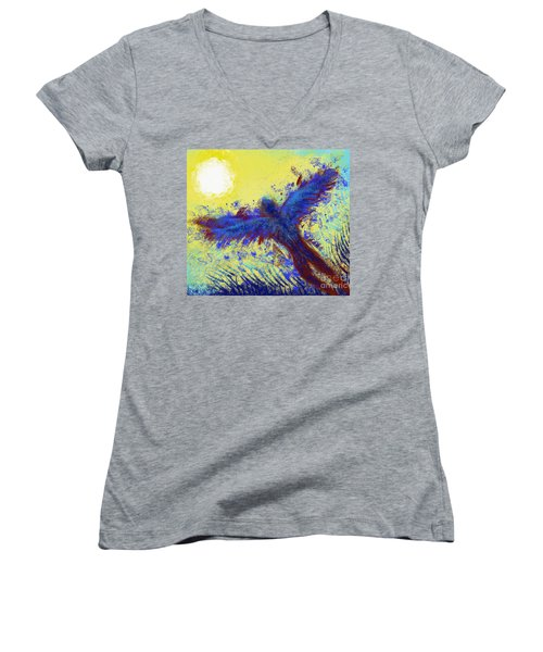 Women's V-Neck featuring the digital art Icarus by Antonio Romero