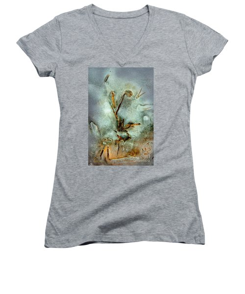 Ice Abstract Women's V-Neck T-Shirt (Junior Cut) by Tom Cameron