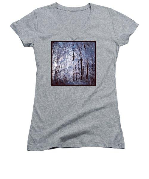 Ice Ladened Forest Women's V-Neck T-Shirt