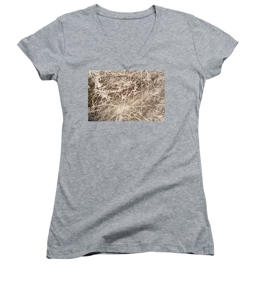 Women's V-Neck T-Shirt (Junior Cut) featuring the photograph Ice Skating Marks by John Williams