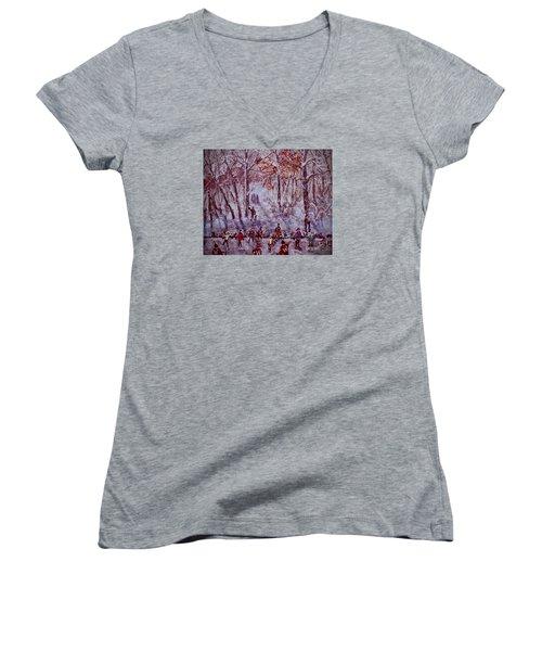 Ice Skating On Hardy Pond Women's V-Neck T-Shirt (Junior Cut) by Rita Brown