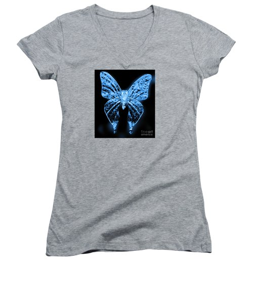 Ice Wing Butterfly Women's V-Neck T-Shirt (Junior Cut) by Cassandra Buckley