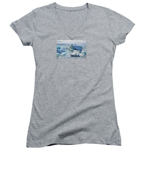 Icebergs On Jokulsarlon Lagoon In Iceland Women's V-Neck T-Shirt