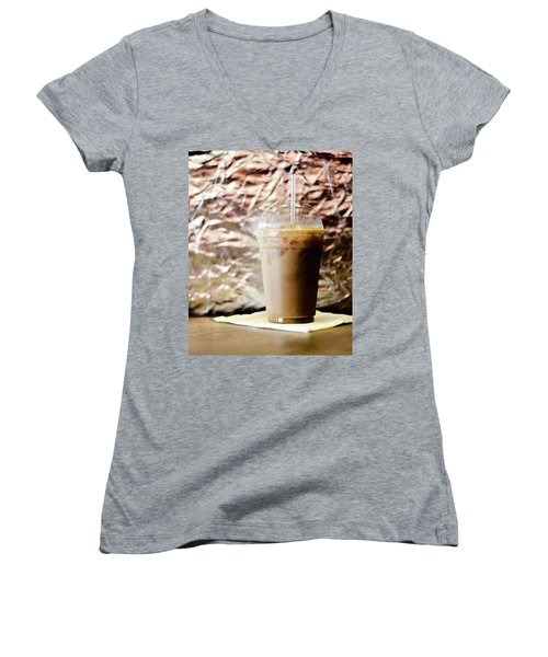 Iced Coffee 2 Women's V-Neck T-Shirt (Junior Cut)