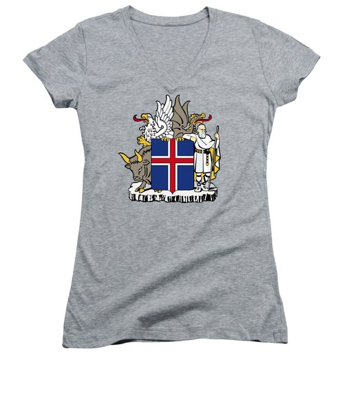 Women's V-Neck T-Shirt (Junior Cut) featuring the drawing Iceland Coat Of Arms by Movie Poster Prints