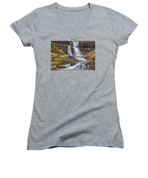 Women's V-Neck T-Shirt (Junior Cut) featuring the tapestry - textile Iceland Fjord 2 by Kathy Adams Clark