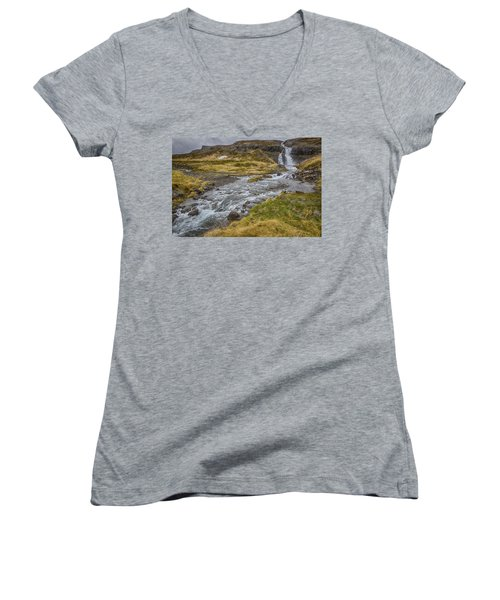 Women's V-Neck T-Shirt (Junior Cut) featuring the tapestry - textile Iceland Fjord by Kathy Adams Clark