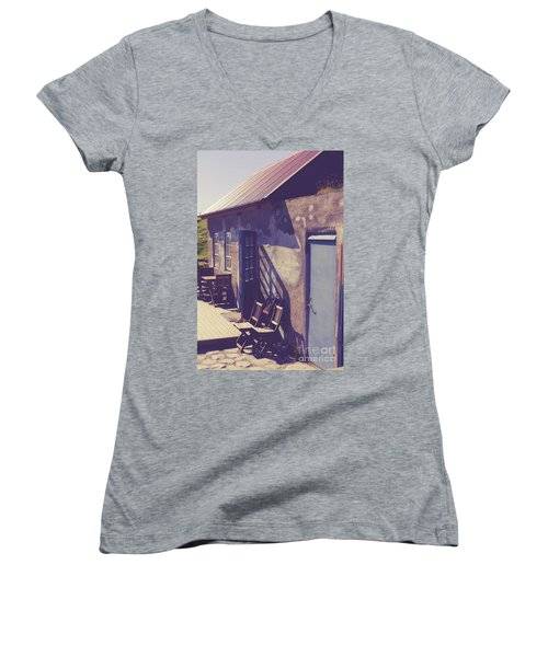 Women's V-Neck T-Shirt featuring the photograph Icelandic Cafe by Edward Fielding