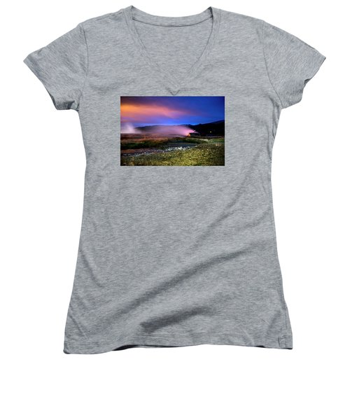 Women's V-Neck T-Shirt featuring the photograph Icelandic Geyser At Night by Dubi Roman