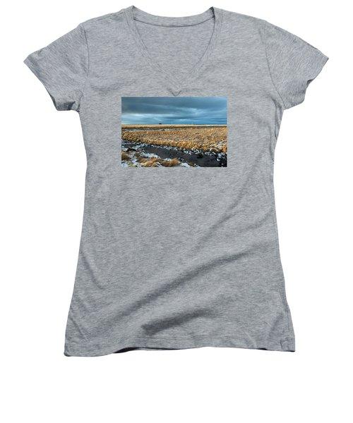 Women's V-Neck T-Shirt featuring the photograph Icelandic Landscape by Dubi Roman