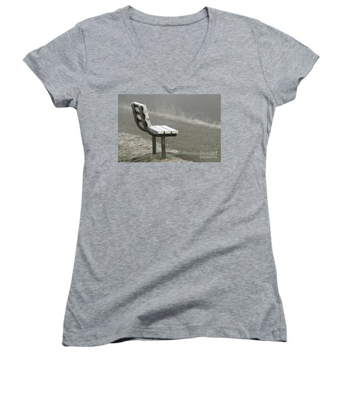Icy Bench In The Fog Women's V-Neck