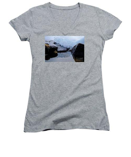 Icy Reflections Women's V-Neck T-Shirt (Junior Cut) by Sandra Updyke