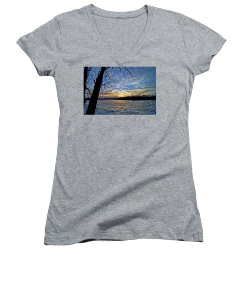 Women's V-Neck T-Shirt (Junior Cut) featuring the photograph Icy River by Cricket Hackmann