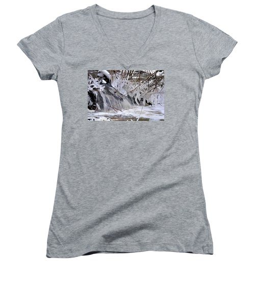 Women's V-Neck featuring the photograph Icy Spring by Ron Cline