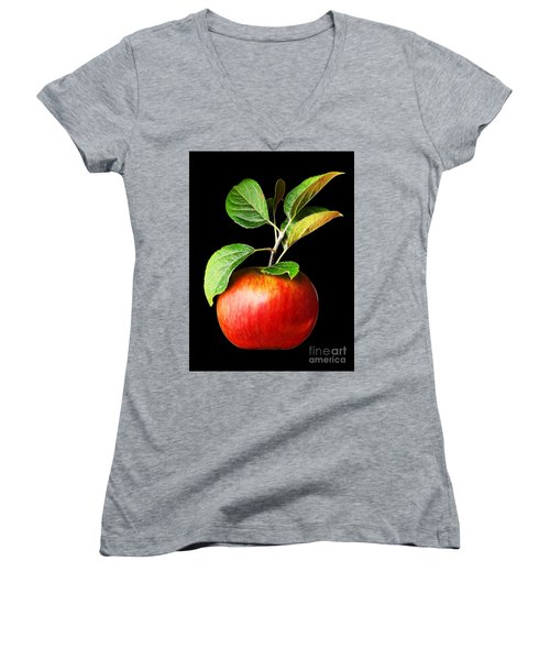 Ida Red Apple And Leaves Women's V-Neck T-Shirt (Junior Cut) by Wernher Krutein