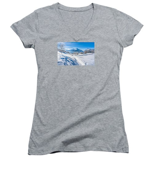 Idyllic Landscape In The Bavarian Alps, Germany Women's V-Neck (Athletic Fit)