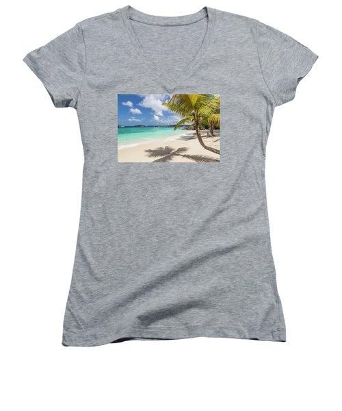 Women's V-Neck T-Shirt featuring the photograph Idyllic Salomon Beach by Adam Romanowicz