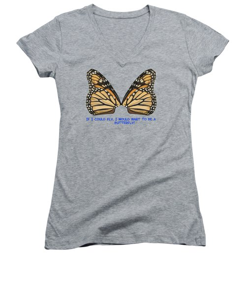 If I Could Fly Women's V-Neck T-Shirt (Junior Cut) by Thomas Young