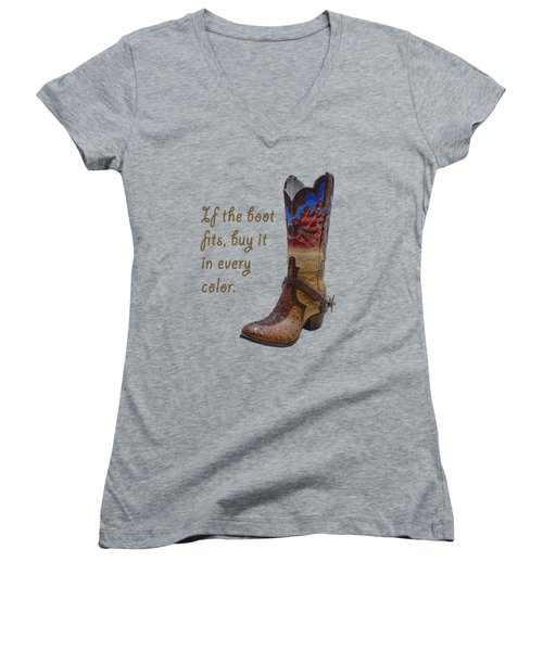 If The Boot Fits 2 Women's V-Neck T-Shirt (Junior Cut) by Priscilla Burgers