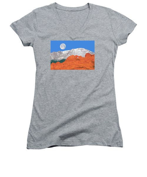 If You're Lucky Enough To Live In The Mountains, You're Lucky Enough.  Women's V-Neck T-Shirt